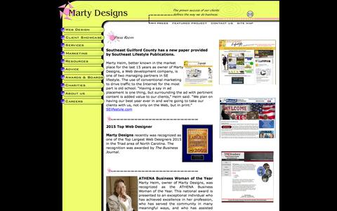 Screenshot of Press Page martydesigns.com - Marty Designs web site design, website development, Internet Marketing - captured March 10, 2016