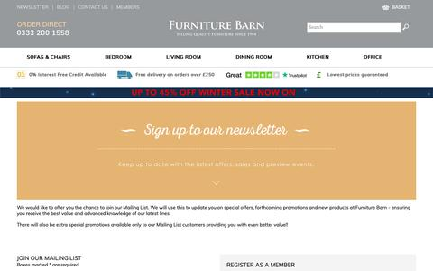 Screenshot of Signup Page furniture-barn.co.uk - Join Our Mailing List - Furniture Barn - captured Jan. 31, 2019