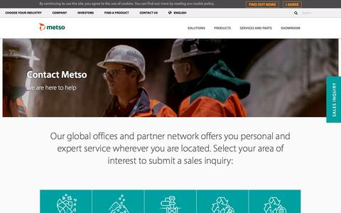 Screenshot of Contact Page metso.com - Contacts - Metso - captured Sept. 21, 2019
