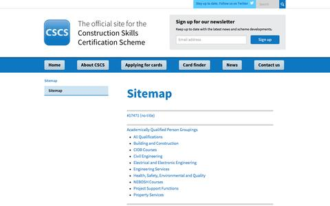 Screenshot of Site Map Page cscs.uk.com - Construction Skills Certification Scheme | Official CSCS Website - Sitemap - captured Jan. 23, 2016