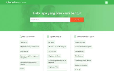Screenshot of FAQ Page tokopedia.com - Pusat Bantuan | Tokopedia Help Center - captured Sept. 21, 2018