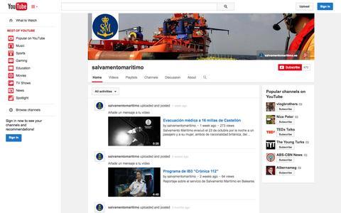 Screenshot of YouTube Page youtube.com - salvamentomaritimo  - YouTube - captured Nov. 2, 2014