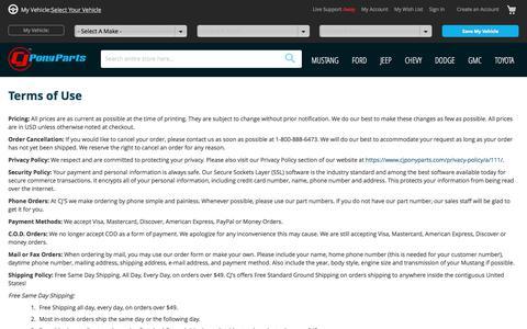Screenshot of Terms Page cjponyparts.com - Terms of Use | CJ Pony Parts - captured Nov. 14, 2019
