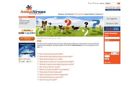 Screenshot of FAQ Page animalairways.com - Animal Airways FAQs about pet travel and relocation - captured Sept. 30, 2014