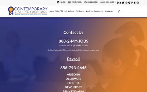 Screenshot of Contact Page Locations Page Hours Page contemporarystaffing.com - Find your Local Branch - Staffing Nationally | Contemporary Staffing - captured Sept. 29, 2018