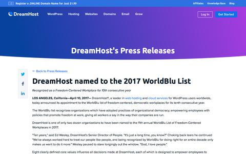 Screenshot of Press Page dreamhost.com - DreamHost named to the 2017 WorldBlu List  – DreamHost - captured Feb. 21, 2020