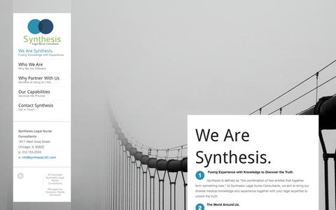 Screenshot of Home Page synthesislnc.com - Synthesis Legal Nurse Consultants | Providing The Best Expert Case Analysis Using Cutting Edge Medical Knowledge - captured Oct. 7, 2014