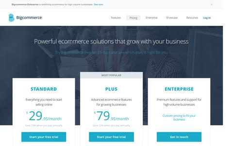Screenshot of Pricing Page bigcommerce.com - Bigcommerce Pricing - More Features with No Hidden Fees | Bigcommerce - captured Sept. 30, 2015