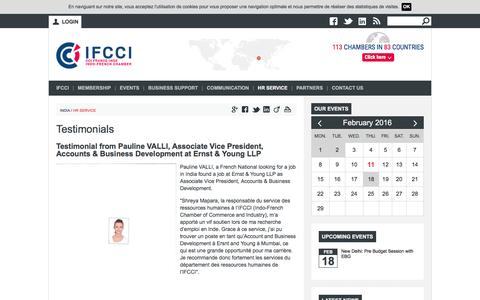 Screenshot of Testimonials Page ifcci.org.in - Testimonials | Indo-French Chamber of Commerce and Industry - captured Feb. 10, 2016