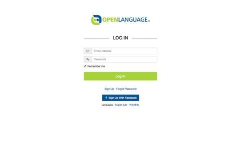 Screenshot of Login Page openlanguage.com - Login · OpenLanguage - captured Sept. 19, 2014