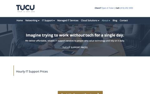 Screenshot of Pricing Page tucu.ca - IT Support Prices - TUCU - captured May 12, 2019