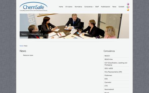 Screenshot of Press Page chemsafe-consulting.com - News - Chemsafe s.r.l. - captured Oct. 2, 2014