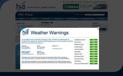 Screenshot of Contact Page hial.co.uk - Contact HIAL - captured Jan. 24, 2016