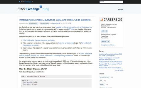Screenshot of Blog stackexchange.com - Blog – Stack Exchange - captured Sept. 17, 2014