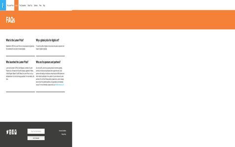 Screenshot of FAQ Page lumenprize.com - FAQs | The Lumen Prize - captured Nov. 22, 2016