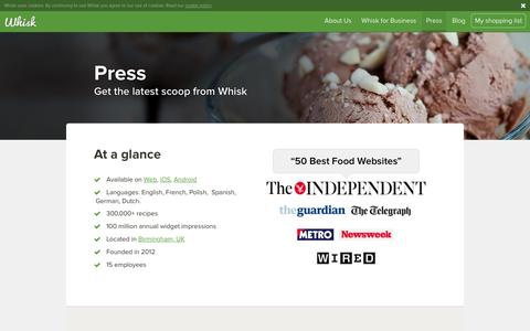 Screenshot of Press Page whisk.com - Press | Best Online Grocery Apps | Best Free Food Shopping List Apps - captured Jan. 14, 2016