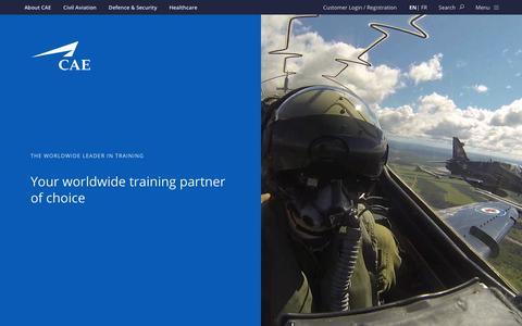 Screenshot of Home Page cae.com - CAE - captured Sept. 25, 2018