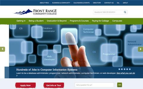 Screenshot of Home Page frontrange.edu - Front Range Community College - captured Oct. 1, 2015
