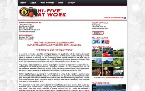 Screenshot of Press Page hifiveatwork.com - Hi-Five At Work - captured Sept. 30, 2014