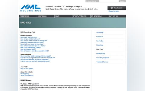 Screenshot of Privacy Page FAQ Page Terms Page nmcrec.co.uk - NMC FAQ   NMC Recordings - captured Feb. 16, 2016