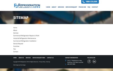 Screenshot of Site Map Page fdrefrigeration.com.au - Sitemap | FD Refrigeration - captured Aug. 9, 2018
