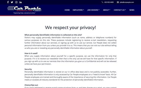 Screenshot of Privacy Page carpeople.com - Privacy Policy – Car People Agency - captured Sept. 26, 2018