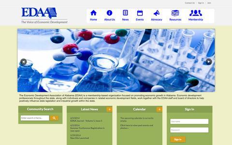 Screenshot of Home Page edaa.org - Economic Development Association of Alabama - captured Oct. 1, 2014