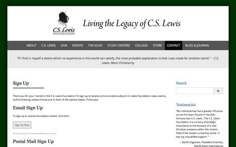 Screenshot of Signup Page cslewis.org - Sign Up - C.S. Lewis Foundation - captured July 9, 2017
