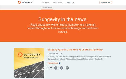 Screenshot of Press Page sungevity.com - News - Sungevity - captured Oct. 10, 2018