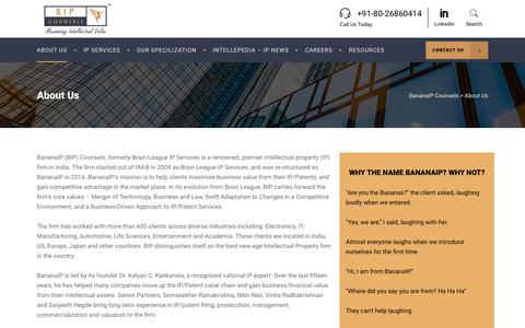 Screenshot of About Page bananaip.com - About BananaIP and Management Team - BananaIP Counsels - captured Feb. 17, 2018