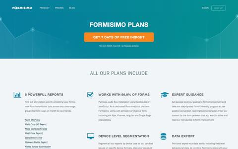 Screenshot of Signup Page Pricing Page formisimo.com - Formisimo Plans and Pricing | Form Analytics - captured Dec. 5, 2016