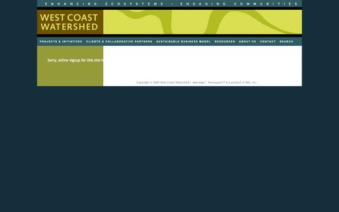 Screenshot of Signup Page westcoastwatershed.com - West Coast Watershed - captured Oct. 20, 2018