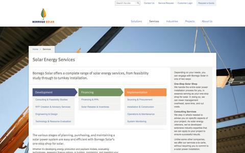 Screenshot of Services Page borregosolar.com - We Provide a Wide Range of Solar Energy Services & Solutions : Borrego Solar Systems - captured Sept. 13, 2014