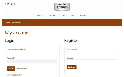 Screenshot of Login Page inventiveecoorganic.com - My account – Inventive Eco Organic - captured Sept. 29, 2018