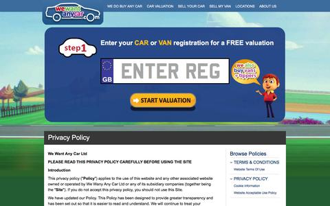 Screenshot of Privacy Page wewantanycar.com - Privacy Policy - We Want Any Car Ltd - captured Jan. 20, 2016