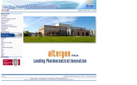 Screenshot of Home Page altergon.it - Home | Altergon Italia - captured Oct. 4, 2014