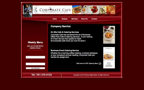 Screenshot of Services Page corporatecafeboston.com - Services - Corporate Cafe Boston - captured Oct. 3, 2014