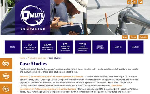 Screenshot of Case Studies Page qualitycompanies.com - Case Studies - Quality Companies - captured Jan. 28, 2020