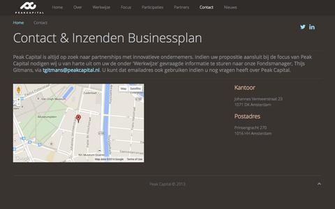 Screenshot of Contact Page peakcapital.nl - Contact & Inzenden Businessplan - captured Sept. 29, 2014