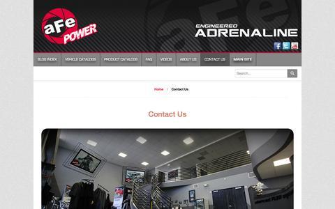 Screenshot of Contact Page afepower.com - aFe POWER - advanced FLOW engineering BLOG   Engineered Adrenaline - captured Oct. 31, 2014