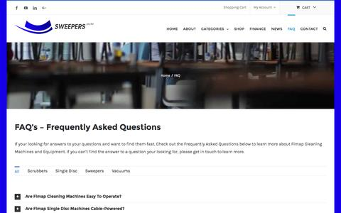 Screenshot of FAQ Page fimap.com.au - FAQ | SWEEPERS | SCRUBBERS | VACUUMS | FIMAP - captured Nov. 25, 2016