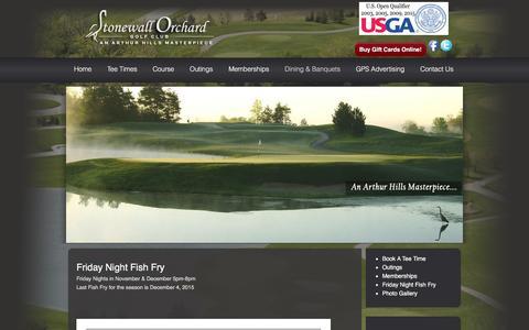 Screenshot of Menu Page stonewallorchard.com - Friday Night Fish Fry | Stonewall Orchard Golf Club - captured Feb. 24, 2016