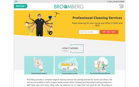 Screenshot of Home Page broomberg.in - Professional Home & Office Cleaning Services Delhi NCR - captured July 1, 2017