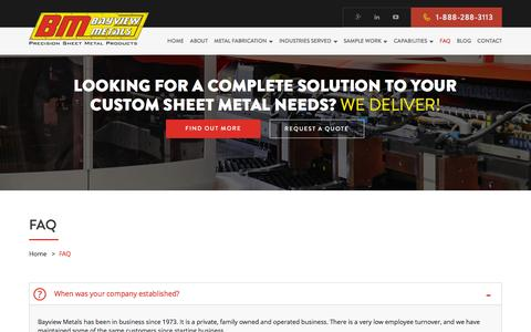 Screenshot of FAQ Page bayviewmetals.com - Frequently Asked Questions | Sheet Metal Parts - Bayview Metals Toronto - captured Dec. 30, 2015