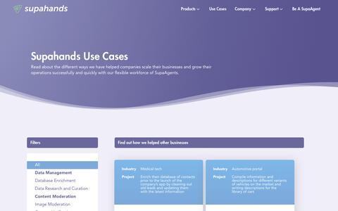 Screenshot of Case Studies Page supahands.com - Supahands Use Cases - captured Nov. 10, 2017