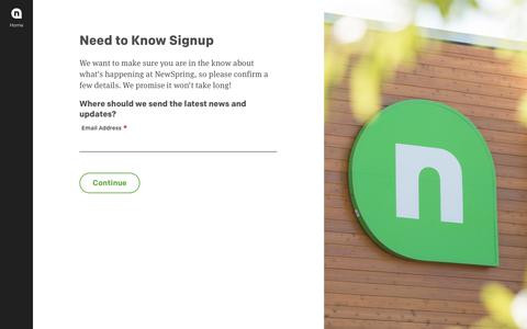 Screenshot of Signup Page newspring.cc - Email Campaign Subscription - NewSpring Church - captured Jan. 13, 2018