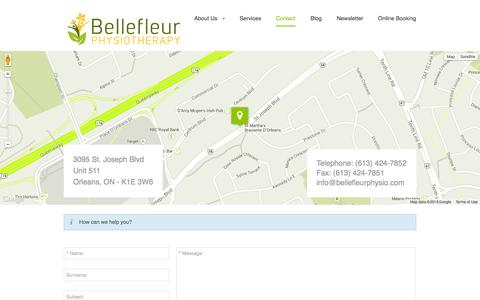 Screenshot of Contact Page bellefleurphysio.com - Bellefleur Physiotherapy - Contact - captured Oct. 27, 2014