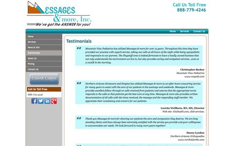Screenshot of Testimonials Page messagesandmore.com - Testimonials | Messages and more, Inc. Answering Service | Flagstaff, AZ - captured Oct. 27, 2014