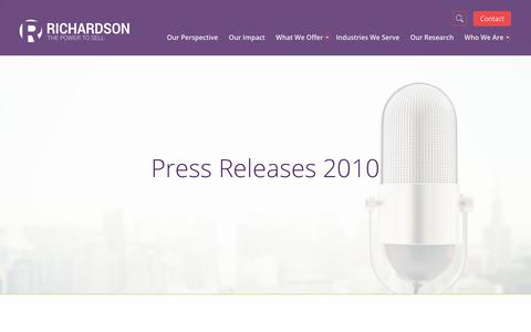 Screenshot of Press Page richardson.com - Press Releases 2010 | Richardson Sales Training Company - captured Oct. 24, 2017