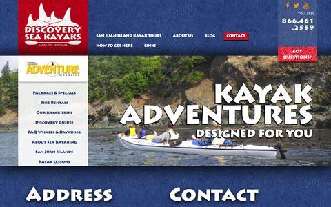Screenshot of Contact Page discoveryseakayak.com - Contact - Discovery Kayak - captured Jan. 7, 2016